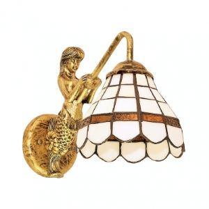 Fancy Single Light Down Lighting Tiffany Glass Shade Wrought Iron Mermaid Wall Sconce
