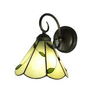 Green Leaves Embellished Tiffany Wall Sconce in Antique Brass Finish