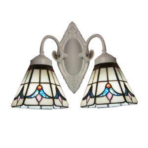 Tulip Tiffany Glass Shades Two-light White Finish Bathroom Lighting