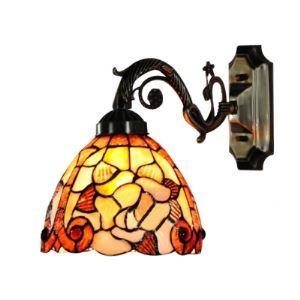 Hand-crafted Rose-decorated Seven Inch Tiffany Bathroom Lighting with Iron Base