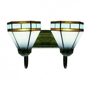 Modern Tiffany Art Glass Style Wall Sconce with Two Light