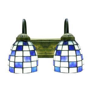 Two Light Modern Tiffany Designed Art Glass Style Wall Sconce