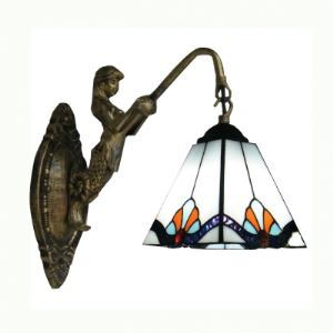 Appealing Mermaid Wall Scone Crafted with Tiffany Glass Shade and Metal Base