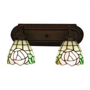 Pink Rose Pattern Tiffany Glass Shades Two Lights Coffee Base Bathroom Lighting