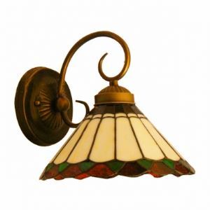 Mediterranean Tiffany Umbrella Shade Wall Sconce in Antique Brass Finish