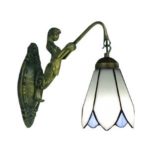 Mermaid-Supported Bronze Finish Sconce Bathroom Lighted Mirror with One Tiffany Downward Shade