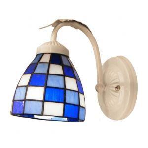 Polished White Finish Wrought Iron Base Tiffany Glass Shade Wall Sconce