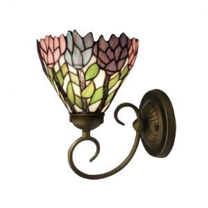 Fabulous Blossom Tiffany Wall Sconce Made by Antique Brass Wrought Iron