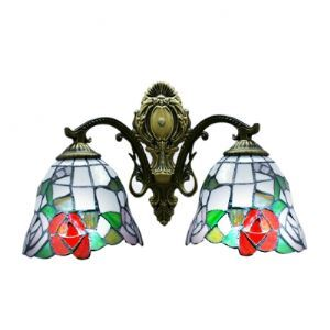 Wrought Iron Style Rose Pattern Two Light Tiffany Wall Sconce