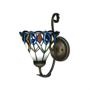 Peacock Tail Motif Tiffany Glass Shade Enticing Wall Sconce for Bedroom