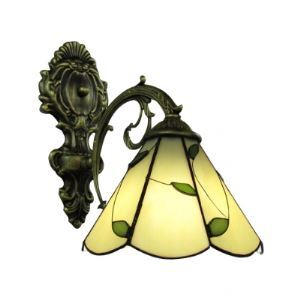 Exquisite Antique Brass Brushed Etched Wrought Iron Base Tiffany Wall Sconce