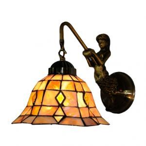 Eight Inch Hexagon Tiffany Bathroom Lighting with Beauteous Mermaid Support