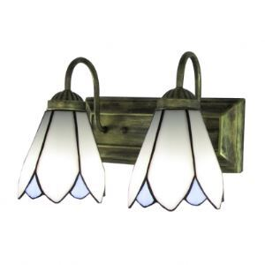 Retro Euro Design Bronze Finish Bathroom Lighting with Two Downward Tiffany Shades