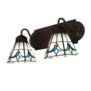 Holland Tulip Motif Tiffany Glass Coffee Wrought Iron Bathroom Lighting