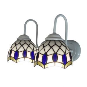 Blue Oval Beadings Accented Tiffany Glass Shades Two Light Bathroom Lighting