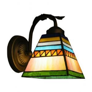 Spanish Bedroom Tiffany Wall Sconce With Rainbow Colors Glass Shade