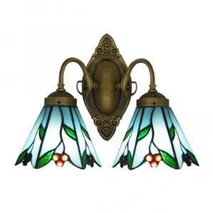 Nature-inspired Pattern Embellished Tiffany Glass Shades Bathroom Lighting in Art Glass Style