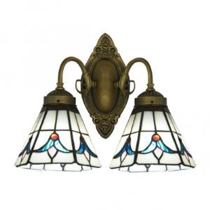Euro Two Lights Bathroom Lighting Features Tulip Glass Shades and Wrought Iron Base