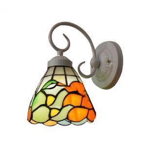 Delightful and Colorful Glass Shade Bird Wrought Iron Wall Sconce in Tiffany Style