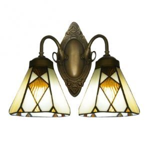 Simple Two Lights Tiffany Glass Shaded Bathroom Lighting in Antique Brass Finish