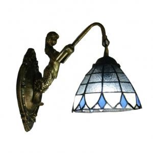 Classic Tiffany Glass Shade Delicate Mermaid Base Bedroom Wall Sconce