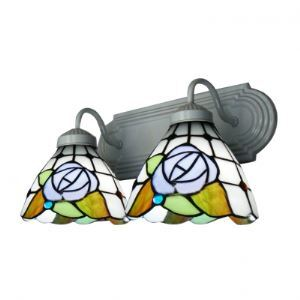 Country Style Tiffany White Finish Bathroom Lighting with Two Blue Rose Shades
