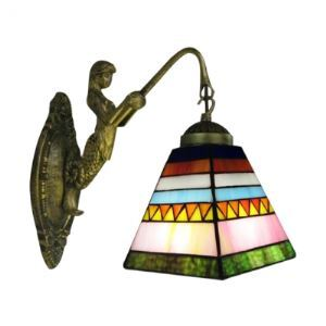 Smashing Bronze Finish Mermaid-Supported Bathroom Light Mirror with One Tiffany Shade