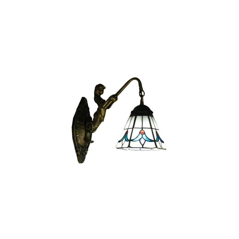 ShoppingCadeaux.com view picture of Tulip Theme Tiffany Glass Shade Down Lighting Mermaid Wall Sconce