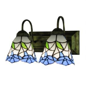 Antique Brass Finished Wrought Iron Bathroom Lighting Featuring Tiffany Glass Shades