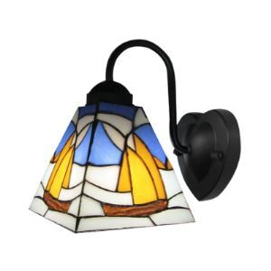 Charming Tiffany Wall Sconce Embellished with Sailing Boat Pattern Tiffany Glass Shades