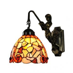 Seven Inch Iron Mermaid-supported Rose-decorated Hand-crafted Tiffany Bathroom Lighting