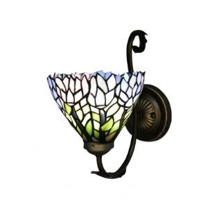 Slim Scroll Colorful Blossom Embellished Tiffany Wall Sconce for Bedroom