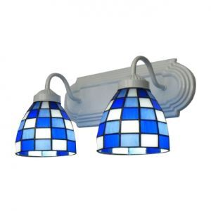 Beauteous Two-light Bathroom Lighting Features Blue and White Grid Motif Glass Shades