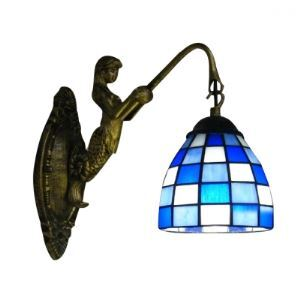 Impressive Mermaid Tiffany Down Lighting Wall Light Accented with Blue and White Grid Pattern