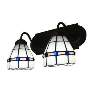 Wrought Iron Base White Glass Shades Two Light Tiffany Bathroom Lighting