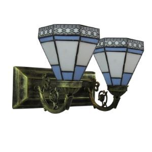Two Lights Beautiful Glass Shades Antique Brass Finished Base Bathroom Lighting