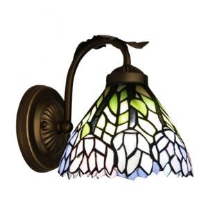Colorful Flowers Motif Tiffany Glass Shade Beautiful Wall Sconce