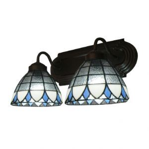 Two Lights 7 Inches High Tiffany Three Tones Glass Shades Coffee Bathroom Lighting