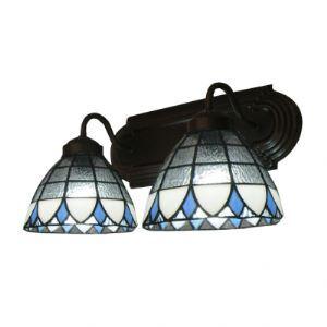 Two Lights 7 Inches High Tiffany Three Tones Glass Shades Coffee Bathroom Lighting