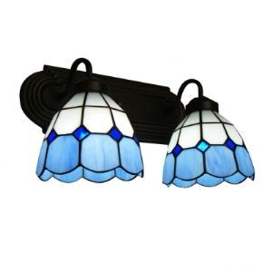 Tiffany Glass Two Lights Both Up or Down Lighting Beautiful Bathroom Lighting
