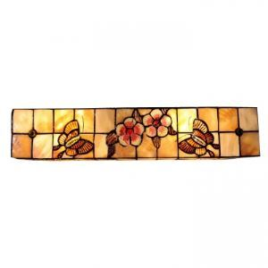 Breath-taking Twenty Inches Hand-crafted Tiffany Wall Washer with Flower-butterflies Decor