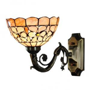 Compelling Euro Country Design Eight Inch Flower-studded Hand-crafted Tiffany Wall Sconce