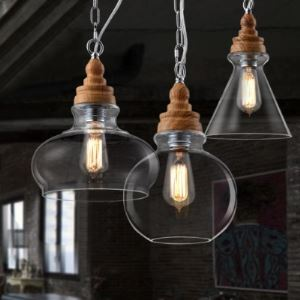 (In Stock) Wood Socket Glass Shade Industrial Colored LOFT Chandelier Pendant
