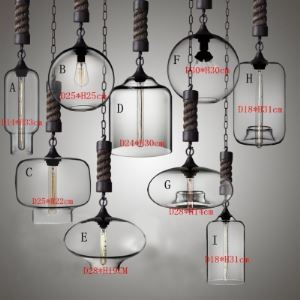 Rope Chain Industrial Colored LOFT Glass Chandelier Pendant
