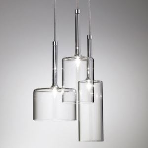 Glass Pendant Light Three Lights Round Canopy Clear Glass Multi-Light Pendant Light in Designer Style