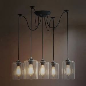 Cylinder Clear Glass Five-light Pendant in Industrial Style