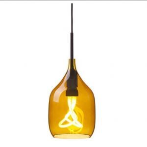 Straight Incision Industrial Pendant Light in Orange/Grey
