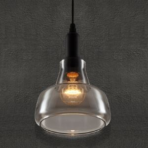 17CM Smoke Grey Vintage Industrial LOFT Glass Pendant