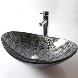 Modern Fashion Leaf Tempered Glass Sink (Faucet Not Included)