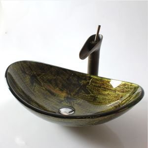 Retro Oval Tempered Glass Sink (Faucet Not Included)